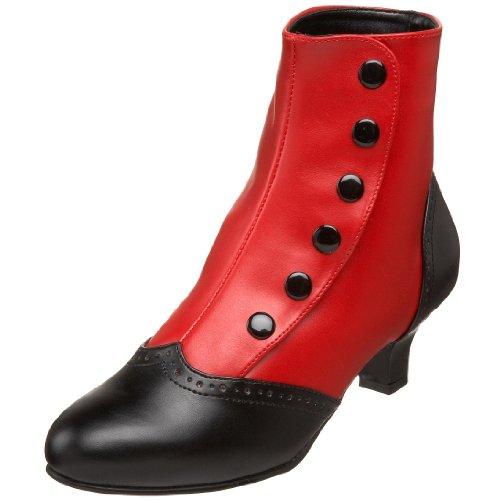 Bordello by Pleaser Women's Flora-1023 Boot,Red-Black Polyurethane,9 M US