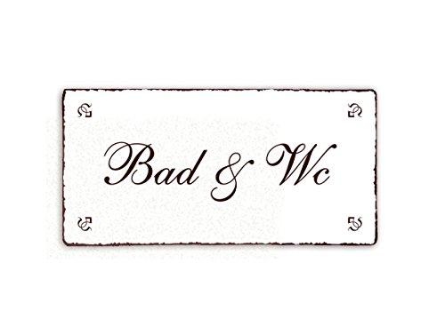 SCHILD Dekoschild BAD & WC Shabby Vintage Türschild ca. 20 x 10 cm