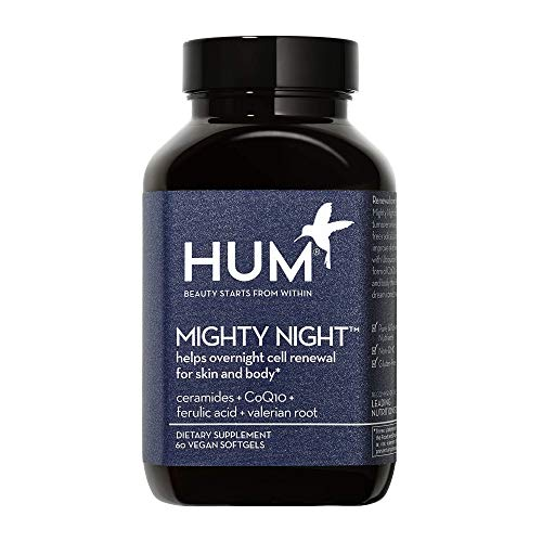 HUM Mighty Night Cell Renewal and Beauty Sleep Supplement - Includes Ceramides, CoQ10 & Ferulic Acid to Fight Early Signs of Aging Overnight - Support Restful Sleep & Skin Health (60 Vegan Softgels)
