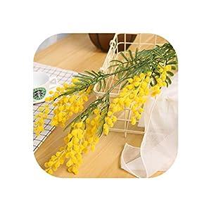Magic day 88Cm 3 Branches Artificial Acacia Yellow Mimosa Spray Fake Silk Flower Wedding Party Event Decor Red Bean Plant for X'Mas