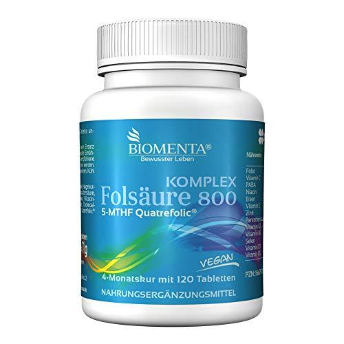 BIOMENTA Folsäure 800 Komplex – mit 800 mcg Folat (Quatrefolic), PABA, Natürliches Vitamin C, Vitamin D3, Vitamin E, Eisen, Zink, Selen, B-Vitamine – vegan - 120 Folsäure Tabletten – 4 Monatskur