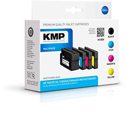 KMP Druckerpatrone für HP 950 XL 951 XL Schwarz Cyan Magenta Gelb - Kompatibel - Tintenpatrone für HP Officejet Pro 8600 - Office Druckerzubehör