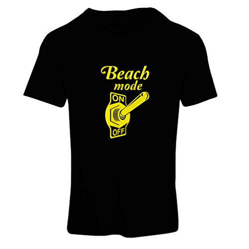lepni.me T-Shirt Femme Mode Plage activé! Citations de Voyage drôles, Vacances d'été (Small Noir Jaune)