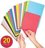 Baker Ross- Láminas autoadhesivas de espuma (Pack de 20) 22 x 15 cm con 2 mm de grosor y en colores variados para hacer collages y manualidades infantiles