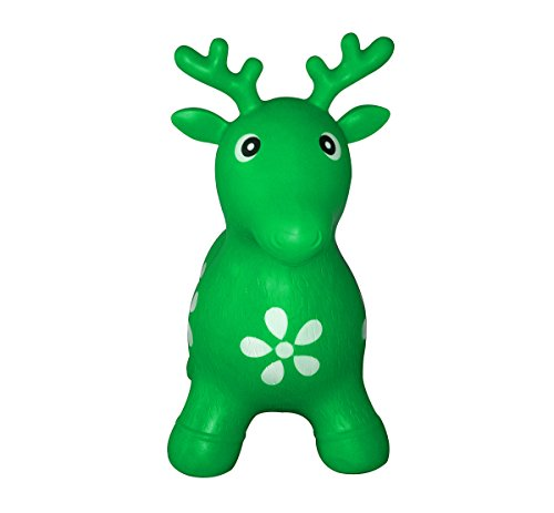 SueSport Inflatable Bouncer Seat, Reindeer, Pump Included Easy to Inflate, Space Hopper, Ride-on Bouncy Animal Hopper, CPSIA, Green
