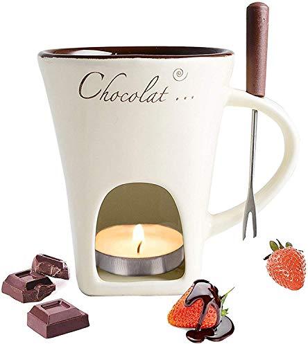 VIGOELAN Ensemble à Fondue au Chocolat avec Fourchette en Acier Inoxydable, Petite chaudière à feu en céramique, Four à Micro-Ondes et Lave-Vaisselle, Convient pour Chauffer Le Fromage et Le Beurre
