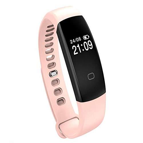 EgBert F08Hr Oled Herzfrequenz Gesundheit Monitor Smart Watch Armband Schrittzähler Ip67 Wasserdicht - Pink