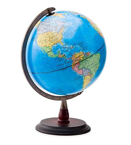 """HearthSong 12"""" LED Light-Up World Globe with No-Tip Weighted Base, Includes Geographic and Political Boundaries for STEM Study, 18"""" H"""