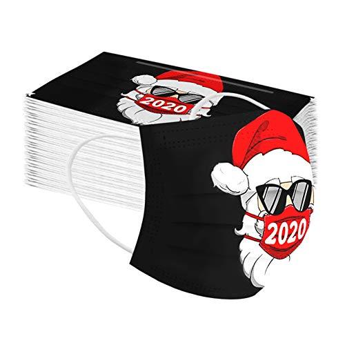 50 Stücke Erwachsene Weihnachten Einweg_Mundschutz, 2020 Santa Drucken Muster 3-lagig Modische Staubdicht Atmungsaktive Mund und Nasenschutz Multifunktionstuch Bandana Halstuch