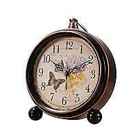 テーブルクロックヴィンテージ アメリカの国レトロノスタルジックな目覚まし時計ミュートゲスト寝室クリエイティブ人格シンプルな金属目覚ましテーブル 置時計 (Color : A)