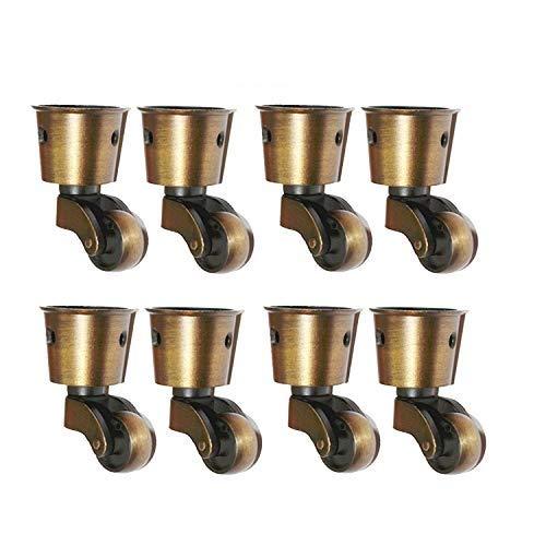 8 ruedas de latón macizo pulido antiguo, de alta capacidad de carga, para muebles, trajes, camas, sillones, color bronce