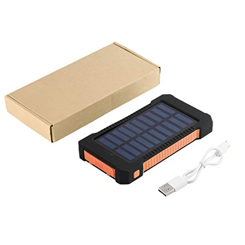 Waterprosolar Power Bank, 30000Mah Portable Dual USB Compact Impermeable Potente Banco de energía Solar con luz LED Cargador de batería Externo con Gancho