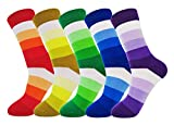 FULIER Mens 5 Pack Baumwolle Rich Smart Design Bunte bequeme Kleid Calf Socken UK 6-13 EUR 39-47 (Bright-stripe)