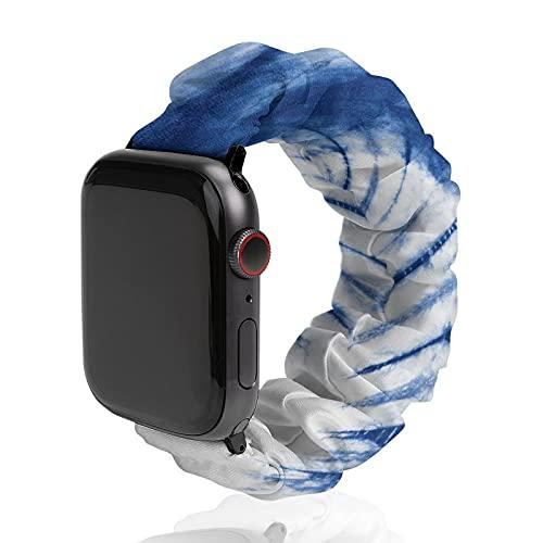 Banda de reloj de tela teñida abstracta con antecedentes de poliéster para Apple Watch, adecuada para mujeres y parejas, bandas elásticas elásticas compatibles con SE 6, 5, 4, 3, 2, 1, 42mm/44mm,