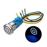 PengCheng Pang 19ミリメートルメタル防水12 / 24V 5ピンのON-OFF押しボタンスイッチLED電源スイッチ (Color : Blue, Size : 24V)