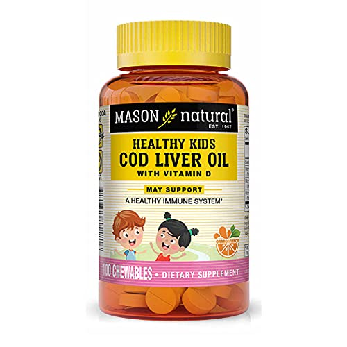 Mason Natural Healthy Kids Cod Liver Oil with Vitamin A, C and D - Improved Immunity, Healthy Heart and Brain Function, Supports Overall Health, Orange Flavor, 100 Chewables