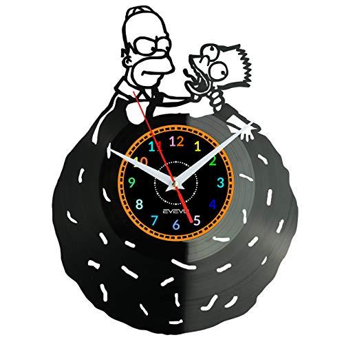 EVEVO Homer Simpsons Wanduhr Vinyl Schallplatte Retro-Uhr groß Uhren Style Raum Home Dekorationen Tolles Geschenk Wanduhr Homer Simpsons