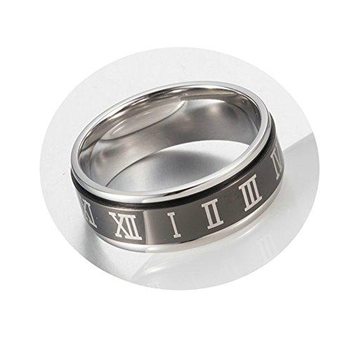 Beglie Ring für Männer Römischen Zahlen Trauringe 8Mm Breit Edelstahl Verlobunsringe Schwarz Eheringe Herren 62 (19.7)