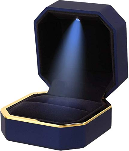 Topro Luxury Ring Box,LED Light Jewelry Display Gift Box,Matte Feel Velvet Wedding Ring Box,Valentine's Day,Engagement,Wedding,Gift (Royal Blue)