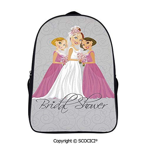 YOLIYANA Bride and Best Backpack Laptop Tablet School Bag with Multiple Pockets