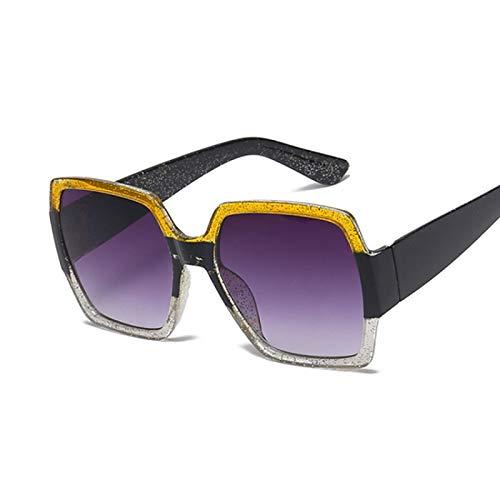 HAOMAO Gafas de Sol cuadradas con Espejo Retro de diseñador de Marca para Mujer, Tonos Vintage, Amarillo, Transparente