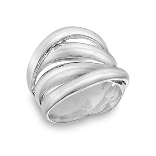 Tuscany Silver Damen 4 reihiger Crossover Ring Sterling Silber P