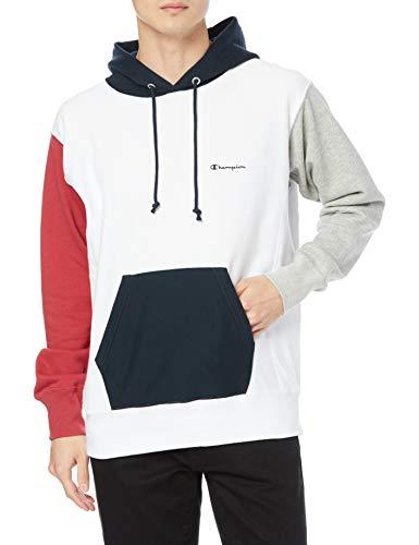 [チャンピオン] パーカー トレーナー 裏毛 長袖 綿100% 10oz カラーブロック スクリプトロゴ刺繍リバースウィーブ フーデッドスウェットシャツ C3-T109 メンズ ホワイト M