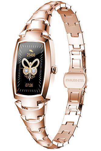Rosegold Smartwatch Damen Fitnessuhr Schmuck Pulsuhr Silber Schrittzähler Frauen Armbanduhr Herzfrequenz Blutdruck Sport Uhr Wasserdicht Tracker Schlaf Monitor