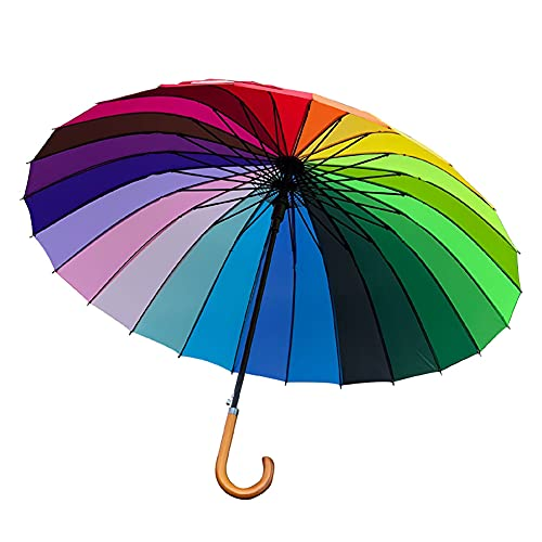 ZDSKSH Paraguas de Golf arcoíris Grande, Paraguas de Palo de Mango Largo de Gran tamaño, 24 Varillas a Prueba de Viento, diámetro de 117 cm