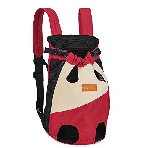 Dociote Mochila de Transporte Frontal para Perro, con Patas Delanteras, Ligera, para Perros, Gatos, Perros, pequeños, medianos, Viajes, Caminatas Rojo y Blanco M