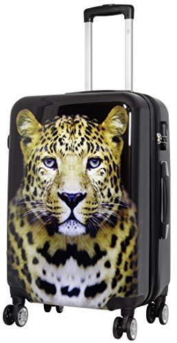 Trendyshop365 Hartschale Citykoffer mit Foto Bedruckt - Leopard Wildlife - 68 Zentimeter 76 Liter 4 Zwillingsrollen Tiermotiv