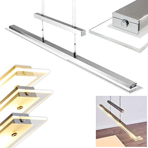 LED Pendelleuchte Hoting, dimmbare Hängelampe aus Metall/Glas in Nickel-matt m. Tastdimmer, Höhe max. 155 cm (verstellbar), Hängeleuchte m. 18,8 Watt, 1836 Lumen, Lichtfarbe 3000 Kelvin (warmweiß)