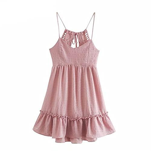IJARL Lace Trim Backless Sling Dress Women Sleeveless A-line Mini Beach Dress Short