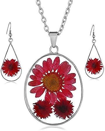 2pcs Boucle d/'oreille Collier Bracelets À faire soi-même Accessoire boule en verre avec séché Fleur