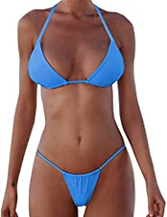 Brazilian bikini two pieces swimsuit,Halter Neck ,Adjustable Strap Bathing suit. it will perfect fit for any shap body.85% polyamide, 15% elastane.High quality and stretchy.Ropes Swimwear, Sexy low waist Bathing suits, push up bikini tops , paded Swi...