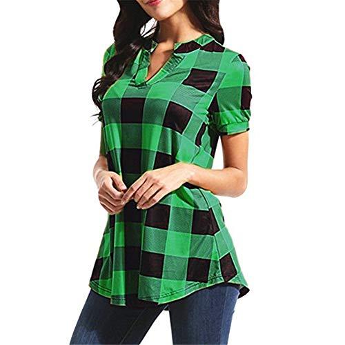 YXXSJB Bluse Damen Bluse Damen Sommer Kariertes Hemd V-Ausschnitt Lockeres Bequemes Bluse Neues 2020 Damenmode Freizeithemd Reisehemd Lässig C-Green L