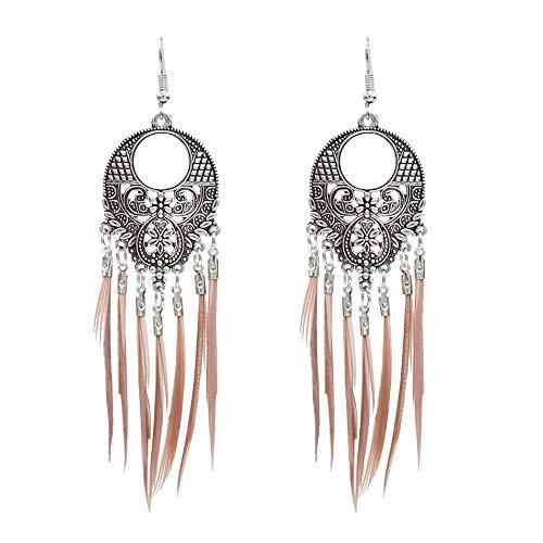 Nuevo estilo étnico joyería popular para el oído plumas de colores tejidas a mano atracciones turísticas pendientes de temperamento de tiro-rosa