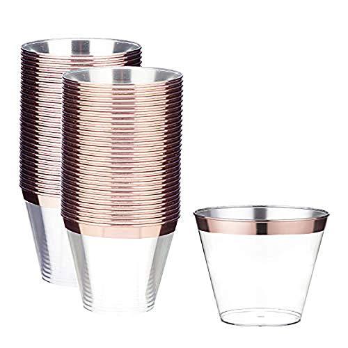 LOMOFI Kunststoff Klar Tassen, 250ml 60 Stück,Rose Gold Gerahmt Kunststoff Tassen, Recycelbarbecher für Geburtstagsfeier/Hochzeit im Freien/Familienessen - Rose Gold
