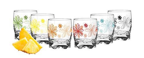 Juego de 6 vasos con diseño de flores, 250 ml, vasos de agua, vasos de zumo con base pequeña