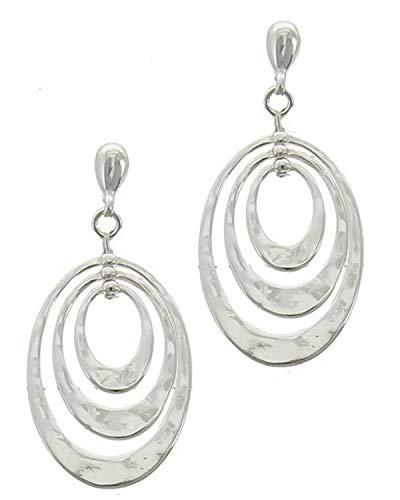 Schmuckanthony Hoernel. Splendidi orecchini lunghi a clip, a cerchio, in metallo, ovale, argento, 5 cm di lunghezza.