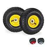 Relaxdays Sackkarrenrad 4.1/3.5-4-Rueda para Carretilla (2 Unidades, neumático de Repuesto, Eje de 16 mm, 136 kg, 260 x 85 mm), Color Negro y Amarillo