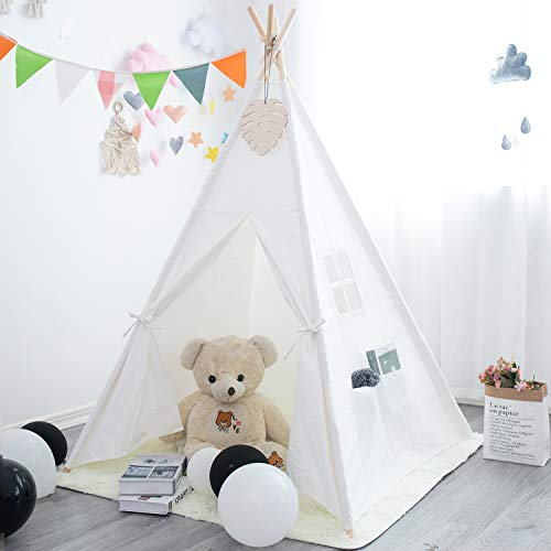 xiaowantong XWT Kids Teepee Tent with Plush Mat, Raw White Canvas Teepee for Girl Boy with Carry Case, Portable Kids Playhouse for Indoor Outdoor