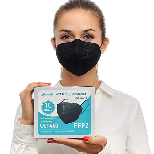 FFP2 Maske Schwarz CE Zertifiziert [10 Stück] CE1463 Atemschutzmaske Mundschutz, DERMATEST® sehr gut