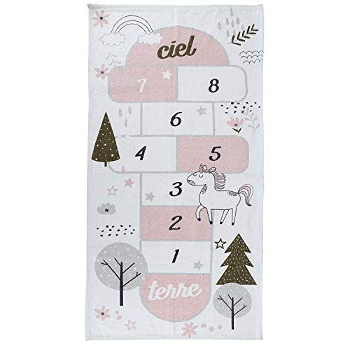 Home Deco Kids TX9045 Tapis Enfant Marelle Blanc Gris et Rose Coton H0,5 x 70 x 140 cm