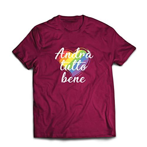 lepni.me Mannen T-shirt Andrà Tutto Bene - Alles Komt Goed Regenboog Van Hoop