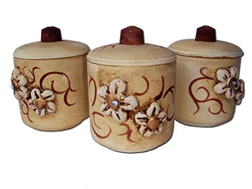 Le Ceramiche Del Re , Barattoli Portaspezie da Cucina in Ceramica,Confezione da 3 Barattoli Sale Zucchero caffè tè h 10 cm Personalizzabili Bomboniera