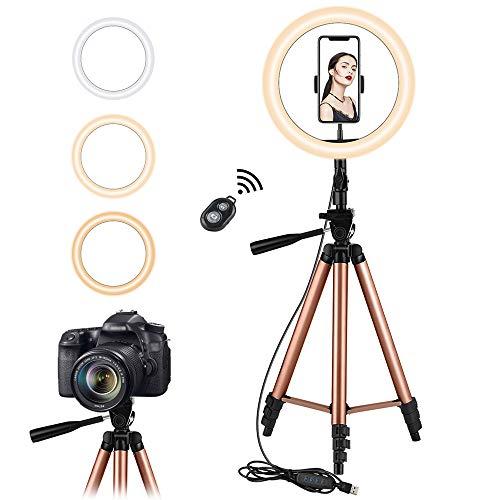 10.2 pulgadas Selfie Anillo de luz con Eocean trípode de 50 pulgadas para YouTube / Transmisión en vivo…
