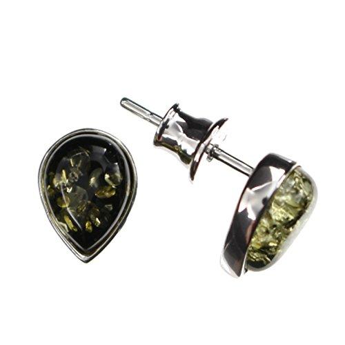 Tropfenförmige grüne Ohrringe mit Bernstein von Artisana-Schmuck, kleine Ohrstecker Fassung 925/000 Sterling Silber rhodiniert
