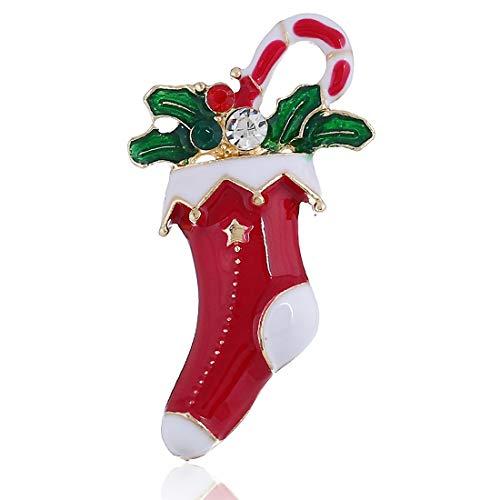 Preisvergleich Produktbild Rcsinway Weihnachtsdekoration der europäischen und amerikanischen Weihnachtssocken Diamant Dreidimensionales Brosche Retro- vorzügliche Legierung Weihnachtssocke Ring Brosche Weihnachten Geschenk Pin