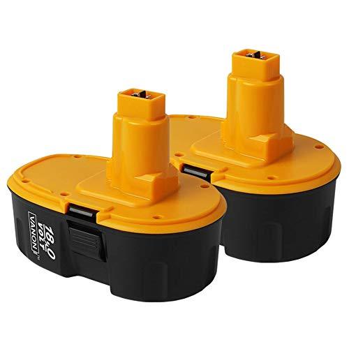 HOMEDAS 【2 piezas】 DC9096 18V 3,0Ah NI-MH Batería de repuesto para Dewalt 18V compatible con Dewalt DE9098 DE9095 DE9096 DE9039 DW9096 DW9095 DW9098 DE9503